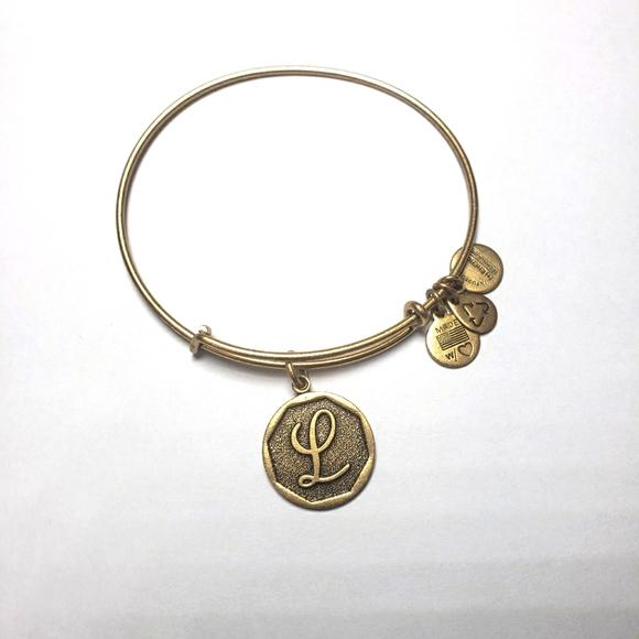 "ALEX AND ANI Letter ""L"" Bracelet Gold"